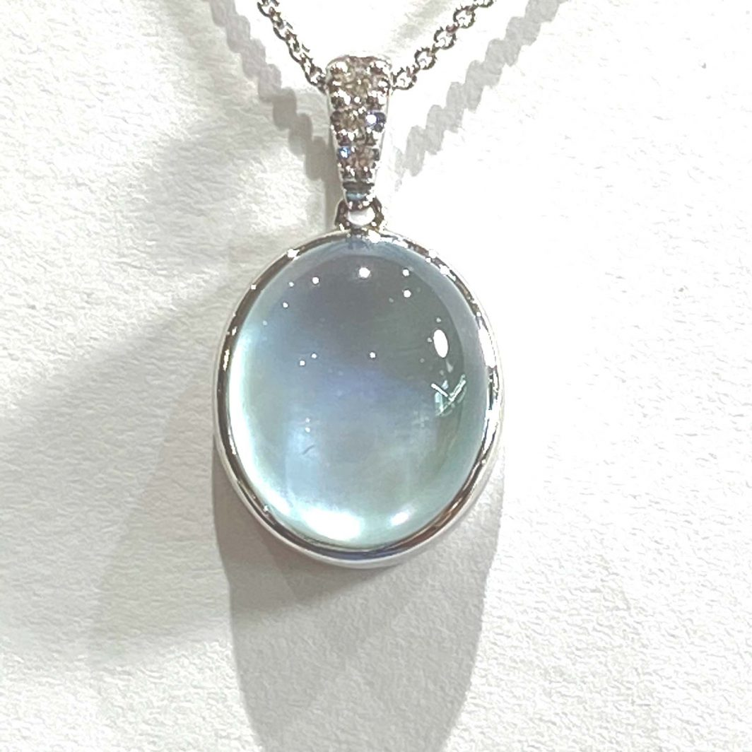 14K White Gold And Blue Moon Necklace