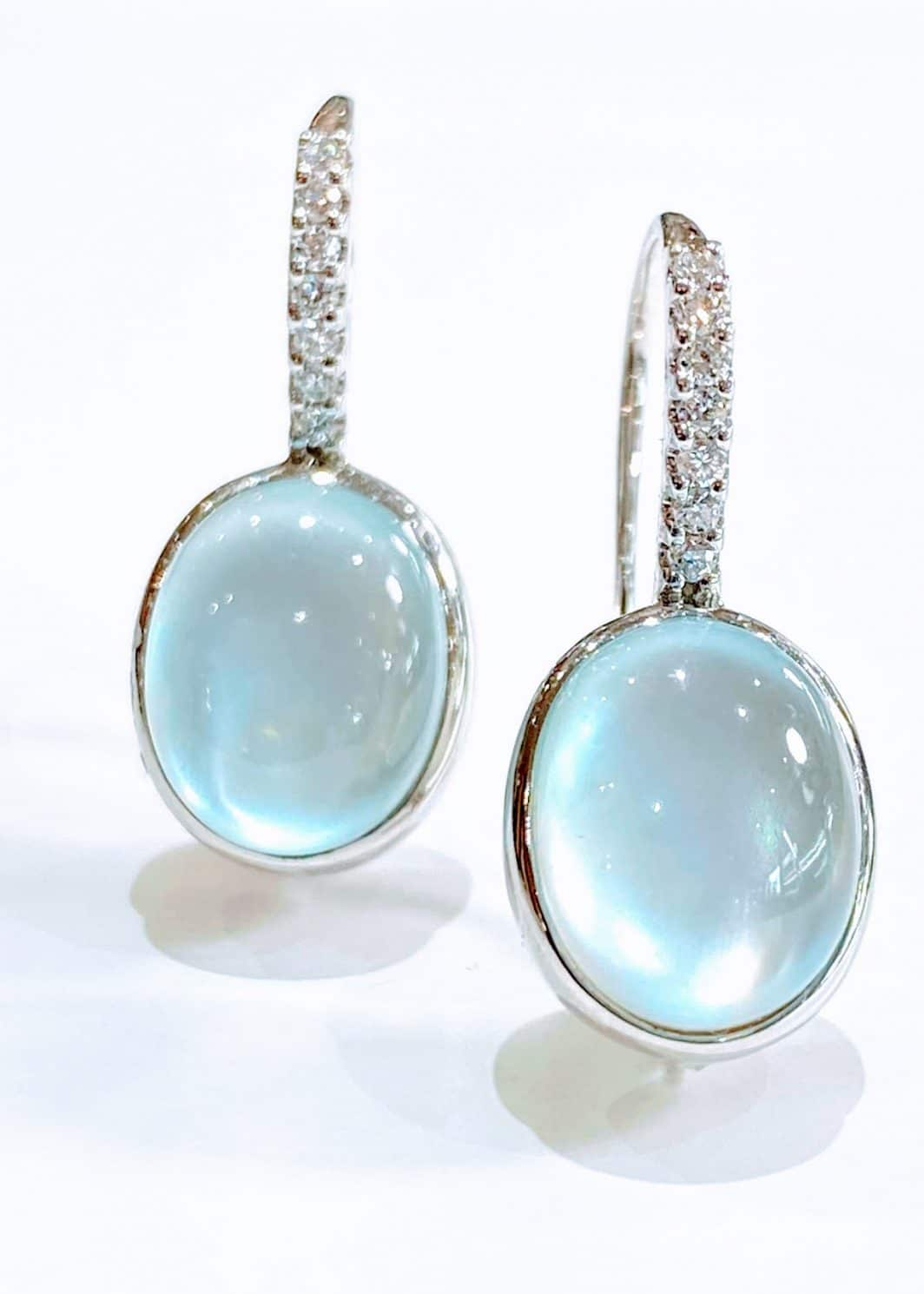 14Kt White Gold Earrings With Moonstone and Diamonds
