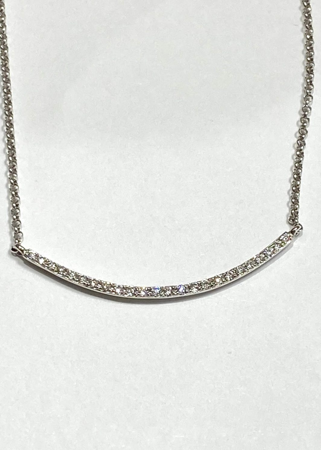 Curved Diamond Bar Gold Necklace