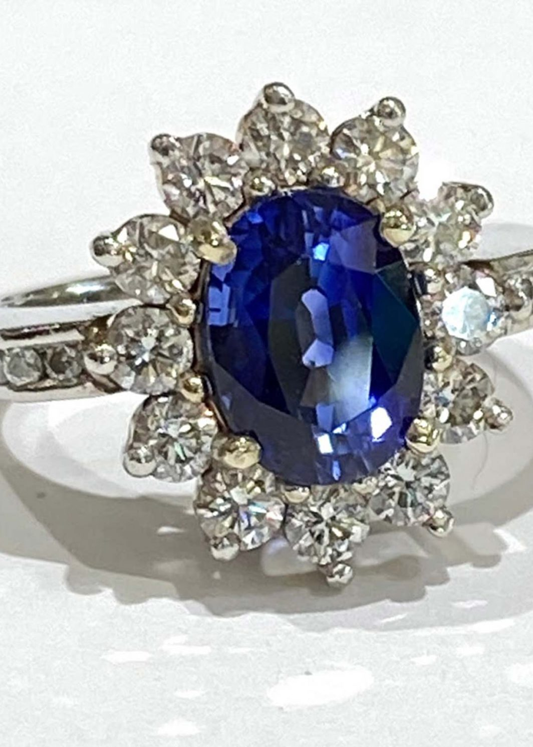 Platinum Diamond Ring with Sapphire