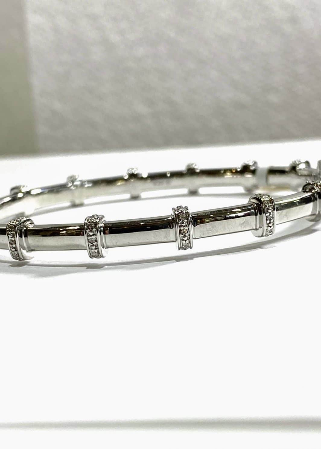 Sterling Silver Bangle with Diamond Bars