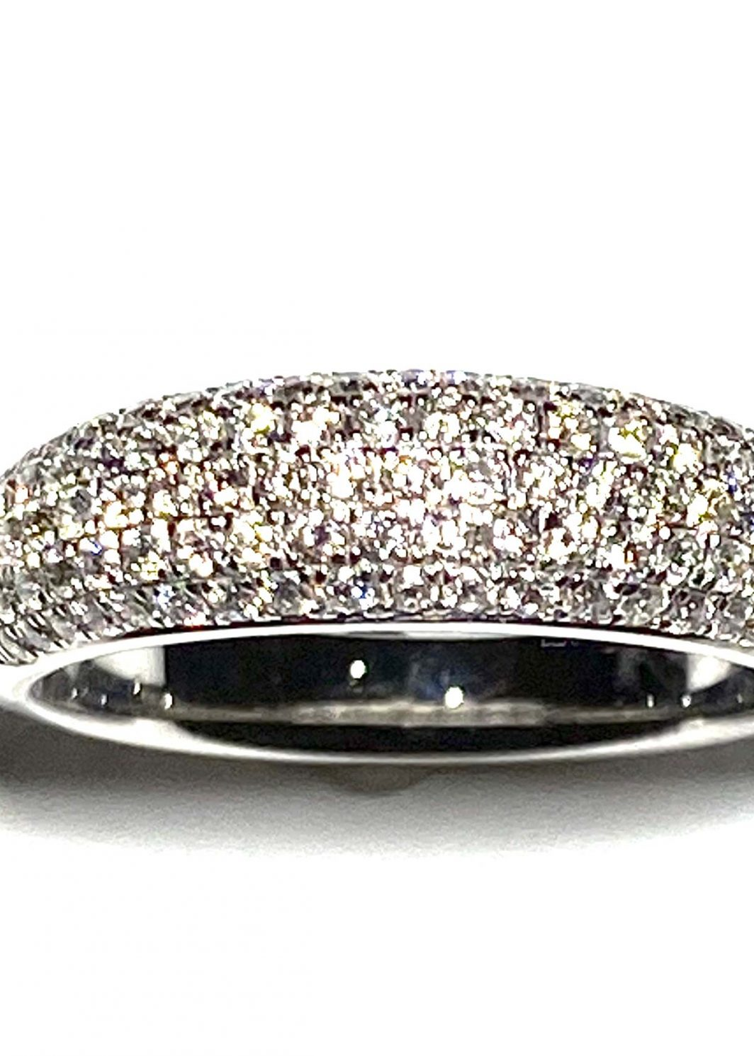14K White Gold Pave Diamond Band