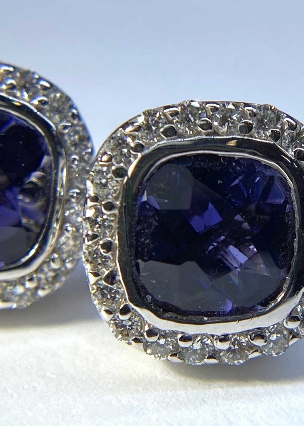 Iolite And Diamond 18 Karat White Gold Earrings