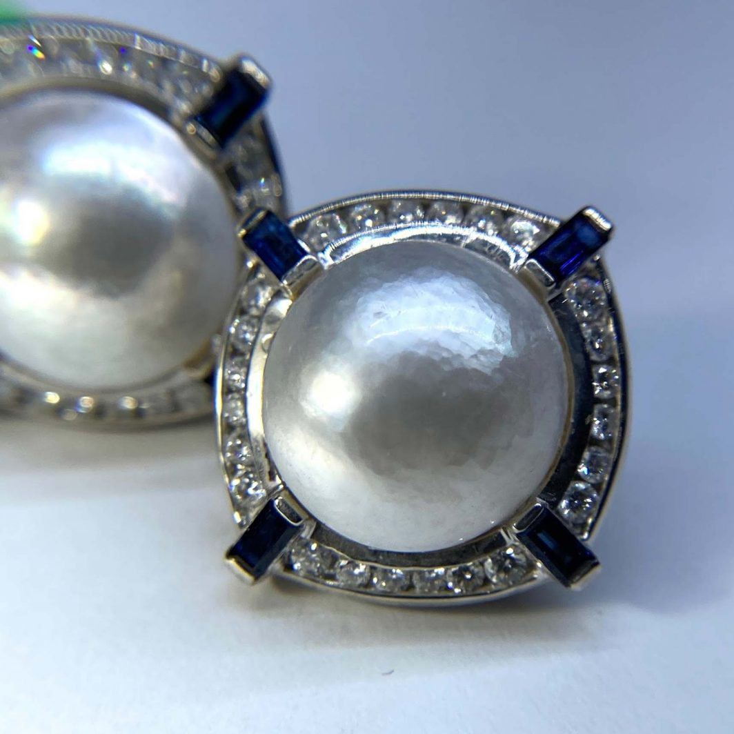 Mabe Pearl Diamond and Sapphire Earrings