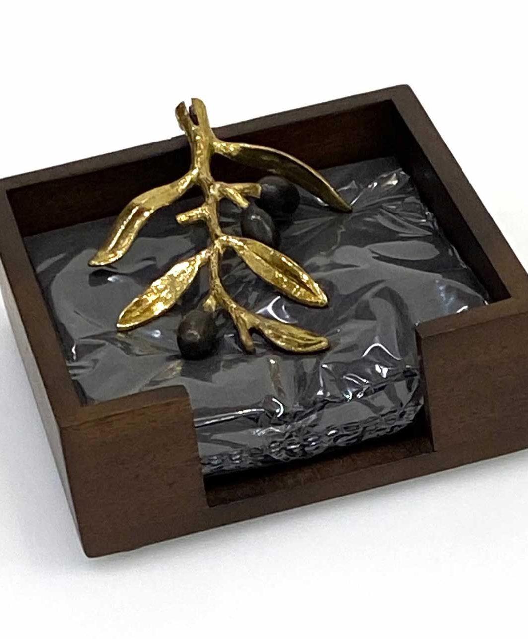 Michael Aram Olive Branch Gold Cocktail Napkin Holder