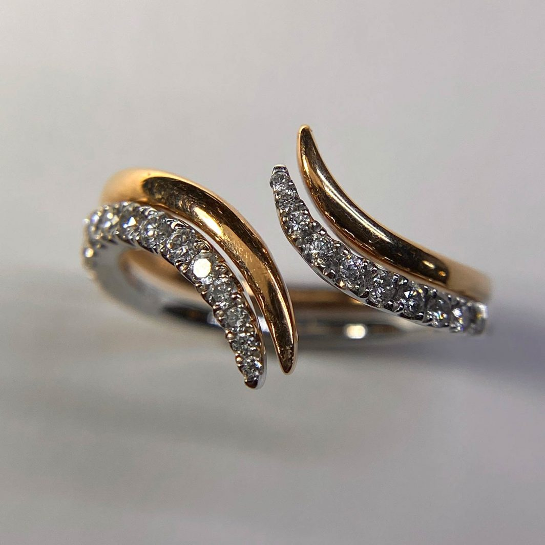 Two Piece Diamond Open Bypass Ring
