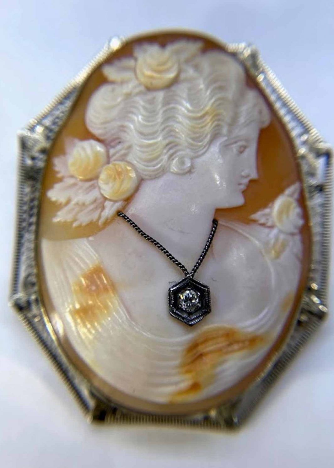 Cameo Lady Wearing Diamond Pendant
