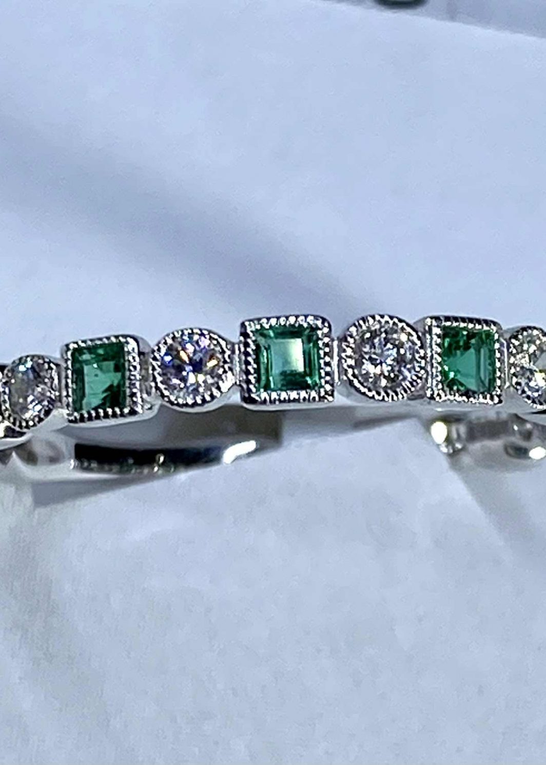 Emerald Diamond Band 14k White Gold (207-487)